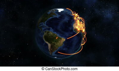 Earth with orange connections turning on itself in the space...