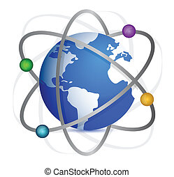 Earth with orbits of satellites. Illustration design over white