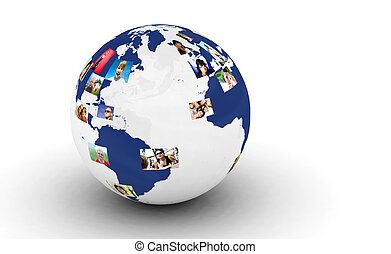 Earth with people photos in network