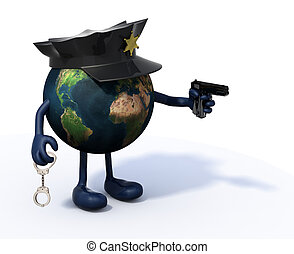 earth with police cop and gun on hand