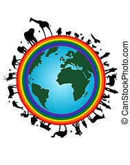 Earth with rainbow