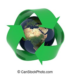Earth with recycling symbol - Recycling concept image. High...