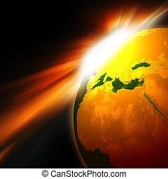 Earth with Rising Sun illustration