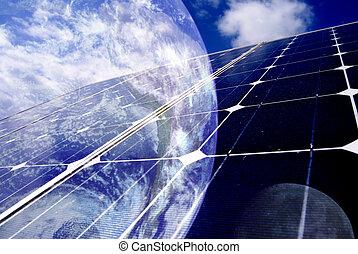 solar panel - earth with solar panel
