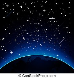 Earth with Stars and Copy Space.