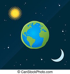 Earth With Sun And Moon in Day And Night