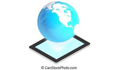 earth with tablet
