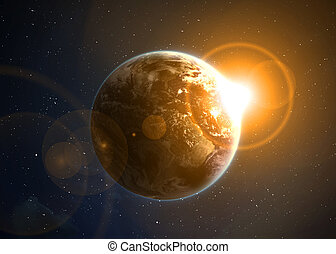 Earth with the rising sun