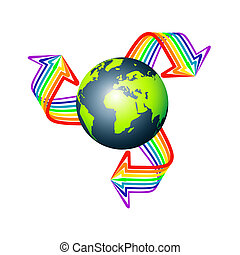 Earth with three arrows stripes