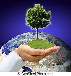 Earth with tree in hand