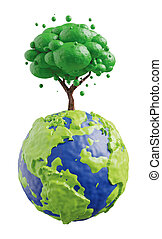 Earth with tree isolated on white background 3D render