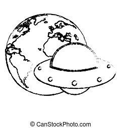 earth with UFO invasion design sketch