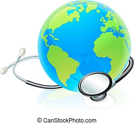 Earth World Globe Stethoscope Health Concept