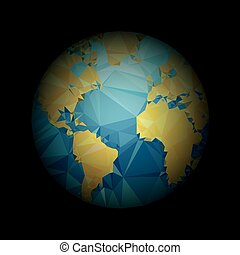 Earth World map. Low poly vector