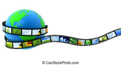 Earth wrapped in film with images