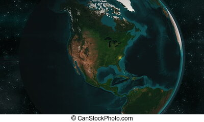 Earth zoom to North America - 4K animation of an earth zoom...