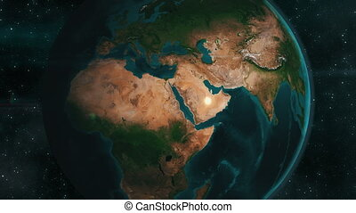 Earth zoom to the Middle East, 4K animation - Earth zoom to...