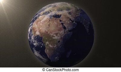 Earth zooms in on Middle east - Earth animation zooms in on...