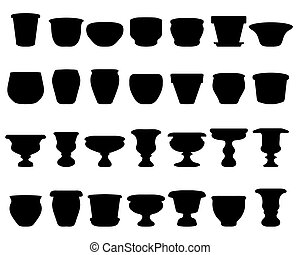 Black silhouettes of flower pots and clay pots, vector