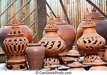 Earthenware handmade old clay pots in Bangkok, Thailand.
