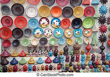 multicolor earthenware in tunisian market