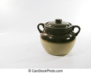 earthenware pot in Quebec to cook beans with lard - left...