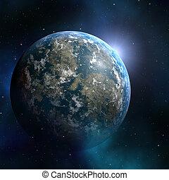 Earthlike planet - Space nebula starfield abstract...