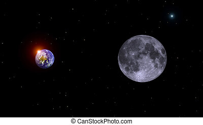 Earth,moon and sun