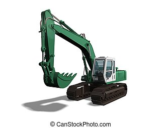Earthmover - Computer image 3D green earthmover isolated ...