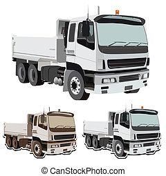 earthmover, vecteur, camion, décharge