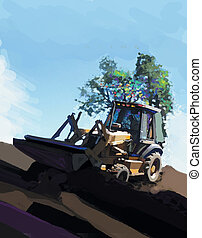 Earthmover with trees