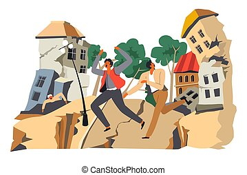 Earthquake and distater, people running from cataclysm or ...