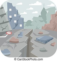 Earthquake City - Illustration Featuring a City Devastated...