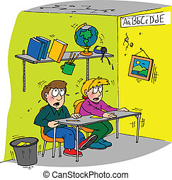 earthquake classroom - children sitting at a desk in a...
