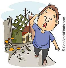 Earthquake - A Panic-Stricken Man Walking Away From...