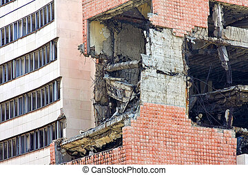 Earthquake collision - Close up shot of building after...