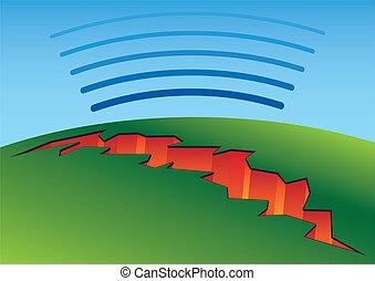Earthquake crack - Schematic deep earthquake crack with...