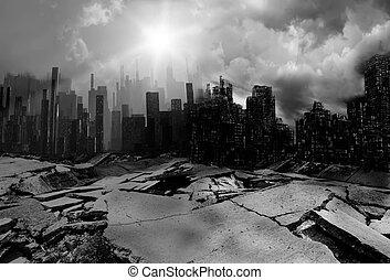 Earthquake - destruction, brick, dirty, narrow, despair,...
