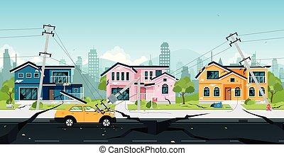 earthquake - Earthquake damage to houses and electric poles...