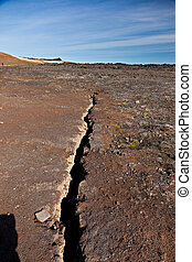 Fracture line in the earth
