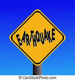 earthquake hazard sign on blue sky illustration