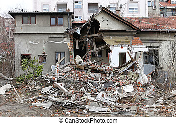 Earthquake house - Ruined house after powerful earthquake...