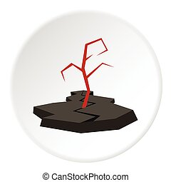 Earthquake icon, flat style