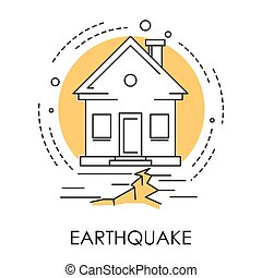 Earthquake isolated icon, house and ground destruction,...