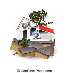 Earthquake isolated on white photo-realistic vector illustration