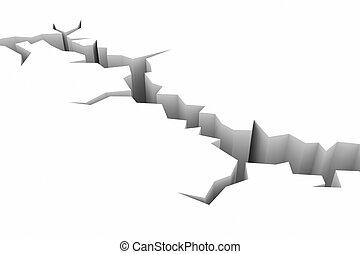 earthquake., la terre, terrestre, white., fissure