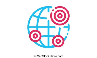 earthquake locations Icon Animation. color earthquake locations animated icon on white background