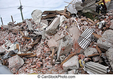 Rubble piled up from the 7.1 magnitude earthquake in Christchurch, South Island, New Zealand, 4-9-2010