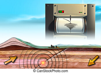 Earthquake schematic showing an earth cross-section and a...