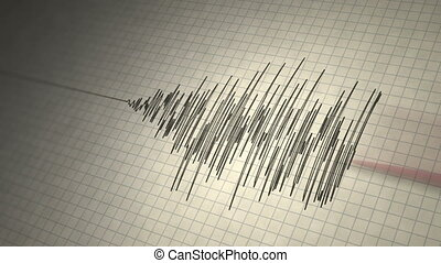 Animated seismograph records earthquake tremors. Seamlessly loopable.